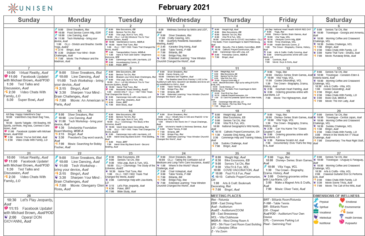 sample calendar of resident programs offered at Unisen Senior Living